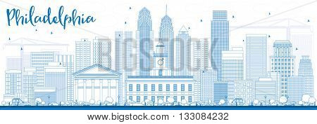 Outline Philadelphia Skyline with Blue Buildings. Vector Illustration. Business Travel and Tourism Concept with Philadelphia City Buildings. Image for Presentation Banner Placard and Web Site.
