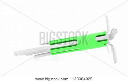 Hex key iron tool for repair isolated on white background