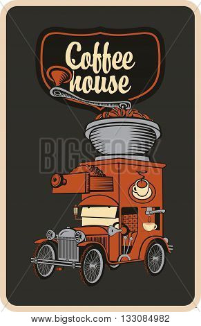 retro banner with car and coffee grinder on roof
