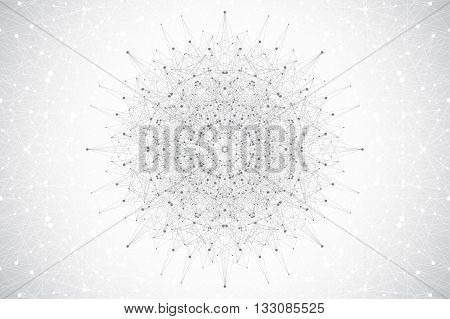 Geometric abstract mandala with connected line and dots. Graphic composition for medicine, science, technology, chemistry. Molecule, communication background. Vector illustration
