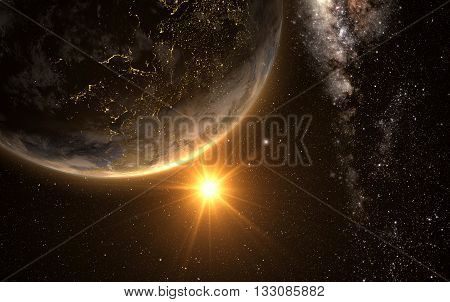 earth with Sunrise from space with milkyway in the backgroud