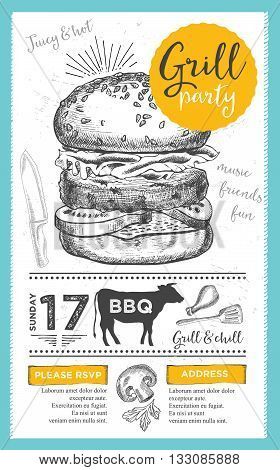 Barbecue menu placemat food restaurant brochure bbq template design. Vintage creative dinner invitation with hand-drawn graphic. Vector food menu flyer. Gourmet menu board.