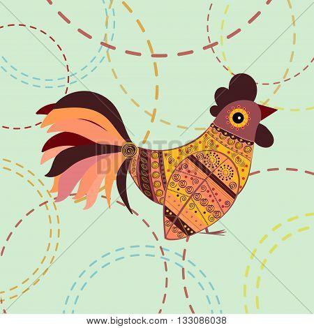 Cock bird ethnic pattern. Symbol 2017. New year. Fair and celebration. Fabulous animal