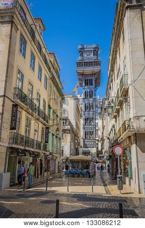 Lisbon Portugal-April 12 2015:The Santa Justa Lift also called Carmo Lift is an elevator in Lisbon