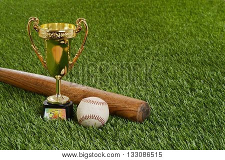 closeup baseball trophy with bat and hard ball