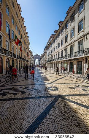 Lisbon Portugal-April 12 2015:Old Lisbon street in a beautiful summer day
