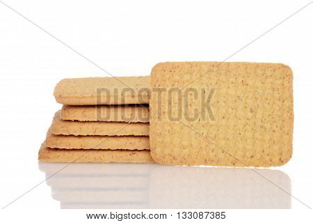closeup whole wheat cookie on white background
