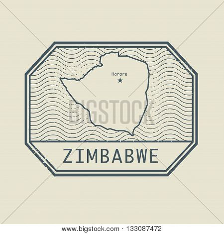 Stamp with the name and map of Zimbabwe, vector illustration