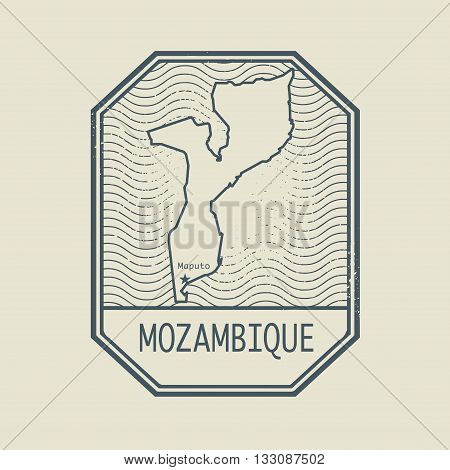 Stamp with the name and map of Mozambique, vector illustration