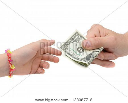 Transfer of money between man and his child isolated on white