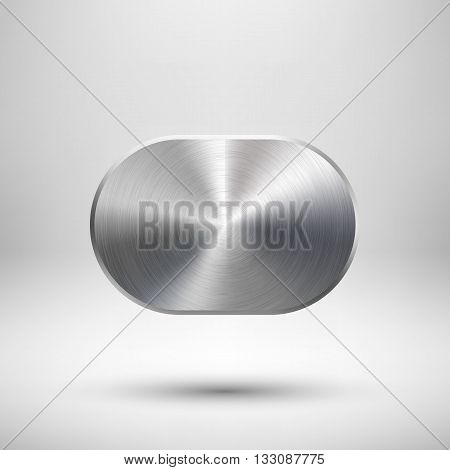 Abstract technology geometric badge, blank button template with metal texture, chrome, silver, steel and realistic shadow for logo, design concepts, prints, web, interfaces, UI. Vector illustration.