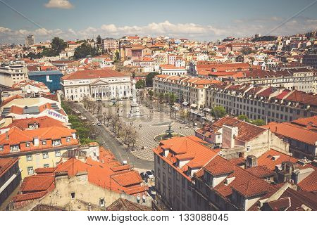 Lisbon Portugal-April 12 2015:Beautiful view of Lisbon old city Portugal