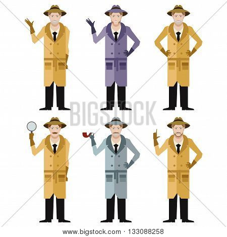Vector image of the set of detectives
