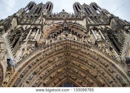 Architectural fragments of Notre-Dame de Reims cathedral facade