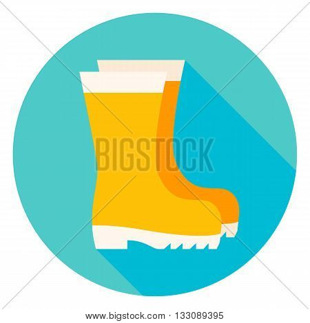Garden Boots Circle Icon. Flat Design Vector Illustration with Long Shadow. Shoes Gardening Clothes Symbol.