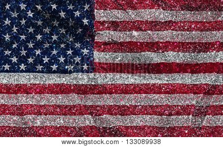 American flag with a glittery effect