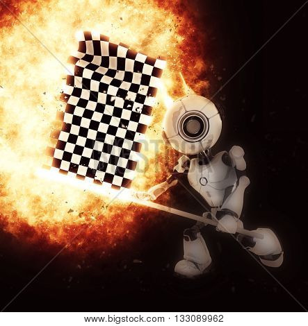 3D render of a robot with a chequered flag and explosion effect