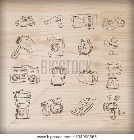 Sketches of household appliances on a wooden background can be used as an icon or other design. Vector illustration.