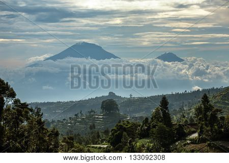 Gunung Sumbing and Sindoro volcanoes on Java, Indonesia