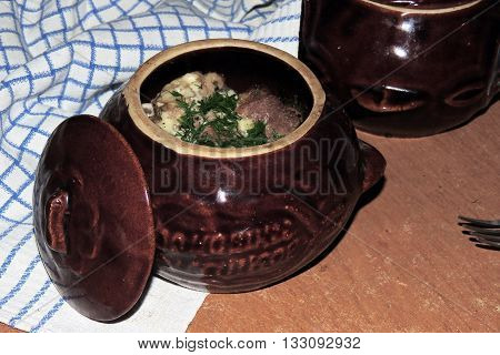 Meat With Potatoes In A Pot