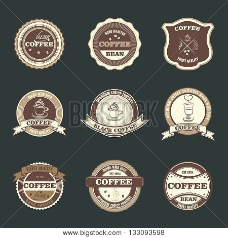 Set of retro coffee house badges, labels, logo design templates with cafe cup and bean