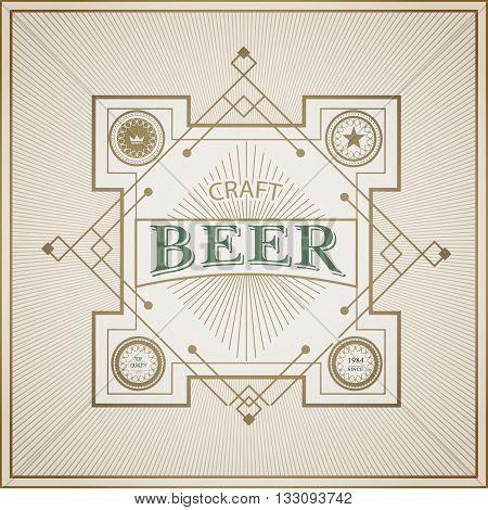 Good craft beer brewery vintage art deco frame label