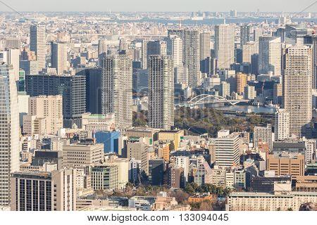 Skylines in Japan around sumida river