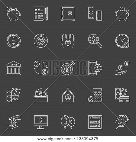 Money economy line icons - vector linear banking and savings signs or pictograms on dark background. Money savings concept symbols