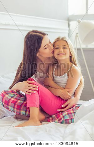 Mom And Daughter In The Morning