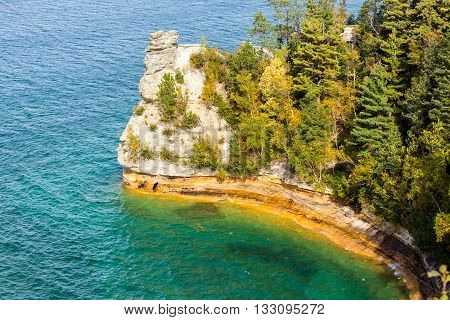 Miners Castle on Lake Superior near Munising Michigan. Part of Pictured Rocks National Lakeshore Miners Castle is a popular attraction
