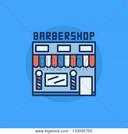 Barbershop building flat icon - vector hairdresser salon symbol. Colorful barbershop symbol on blue background