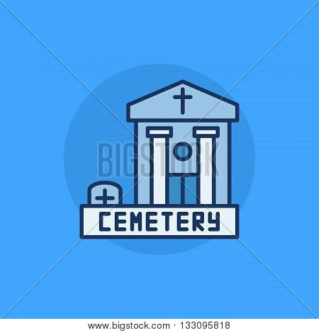 Cemetery building flat icon - vector blue colorful symbol. Graveyard flat sign