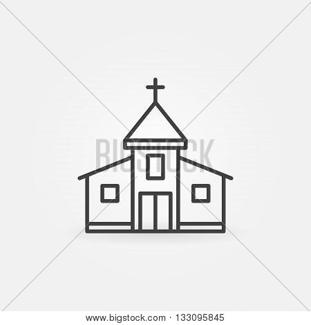 Church building icon - vector simple symbol. Outline christian church sign