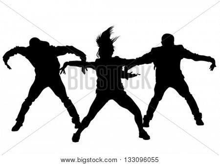 Hip hop dancer on white background