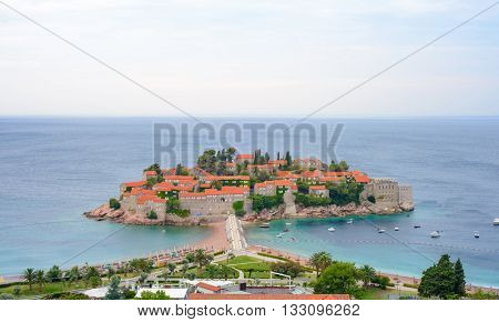 Beautiful Island and Luxury Resort Sveti Stefan in Budva, Montenegro. Balkans, Adriatic sea, Europe.