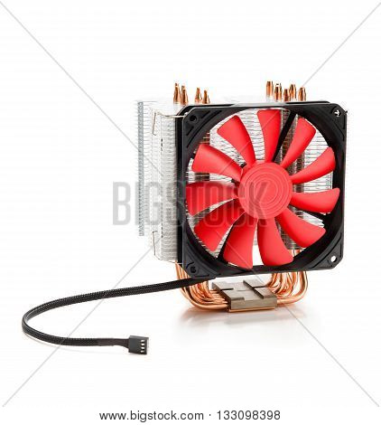 CPU cooler with fan and heat pipes isolated on white background