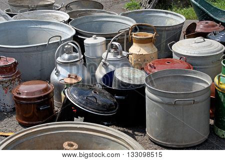 Collection of old crapped flea market churns