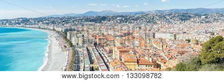 Nice Cote d'Azur Riviera France with mediterranean beach sea panorama