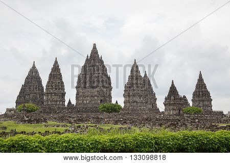 Architecture of Ancient Prambanan Temple Ruin, Yogyakarta, Java, Indonesia.