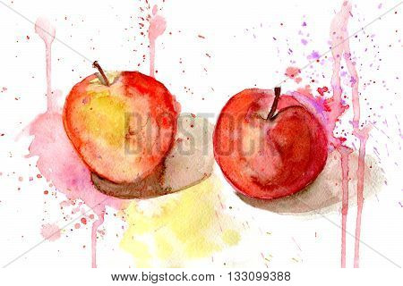 hand drawn watercolor painting of two apples with splashes