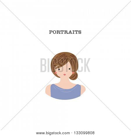 Hand drawn whimsical portrait for calling cards, business or blog profiles