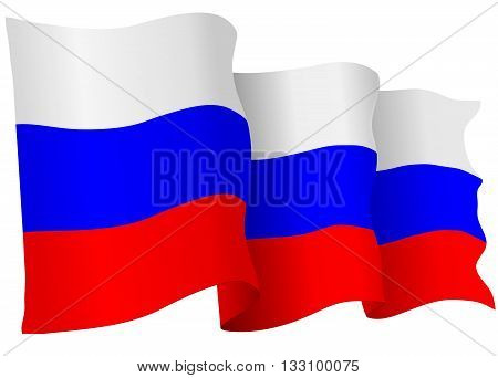 Russian Federation flag of Russia isolated on white in vector format.