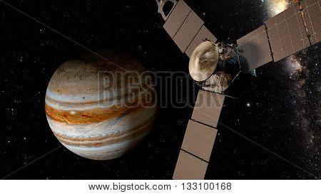 jupiter and satellite juno, space scene, 3D rendering.
