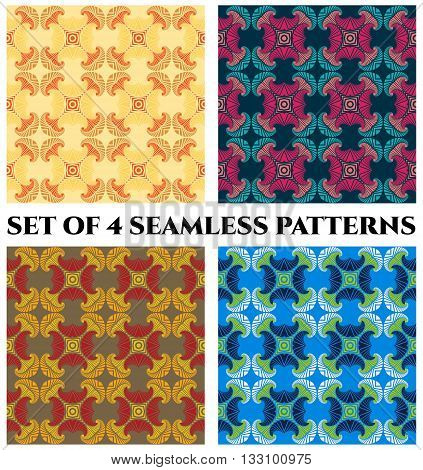 Set of 4 abstract fashionable fractal seamless patterns with decorative ornament of orange golden yellow beige magenta pink blue teal grey red white and green shades