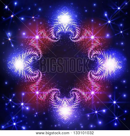 Abstract Illuminated decorative frame on dark blue gradient background with twinkling stars and lights
