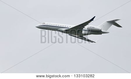 Moscow Region - June 4 2016: Passenger airplane Bombardier BD-700-1A10 Global Express takes off at Vnukovo airport on a clear day June 4 2016 Moscow Region Russia
