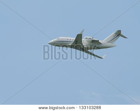 Moscow Region - June 4 2016: beautiful passenger aircraft Embraer ERJ-145LR takes off at Vnukovo airport on a clear day June 4 2016 Moscow Region Russia
