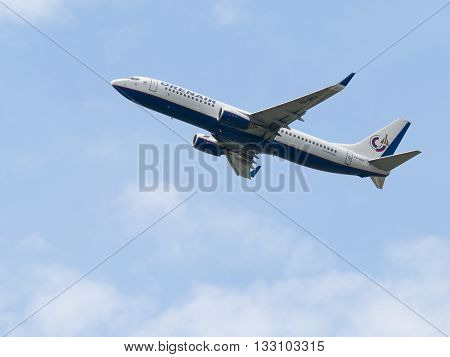 Moscow Region - June 4 2016: A large passenger plane Boeing 737-8Q8 Orenair takes off at Vnukovo airport under overcast June 4 2016 Moscow Region Russia