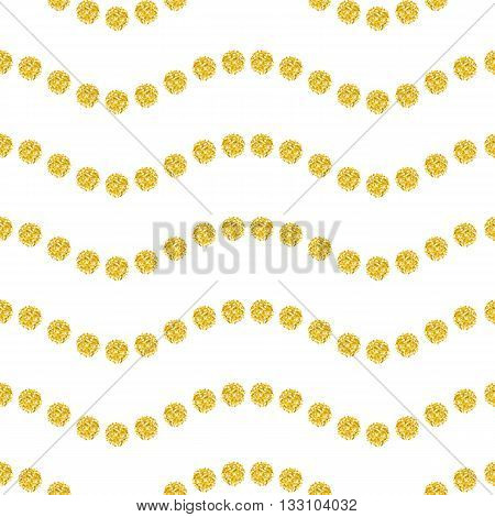 Seamless pattern with bright point on white background. Wavy ornament gold confetti brilliant polka dot. Vector illustration template for wedding birthday card invitation gift xmas