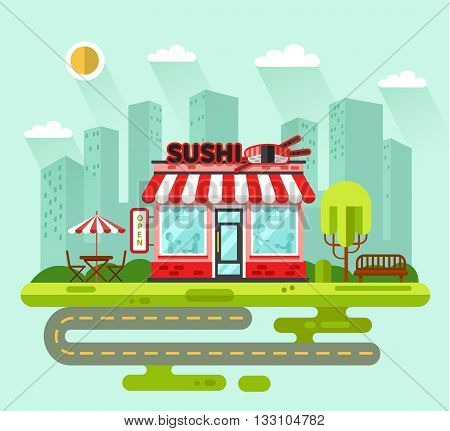 Vector flat style illustration of City landscape with nice sushi bar or chinese restaurant building, street with road, bench, trees, umbrella, table, chair. Signboard with big sushi roll, chopsticks.